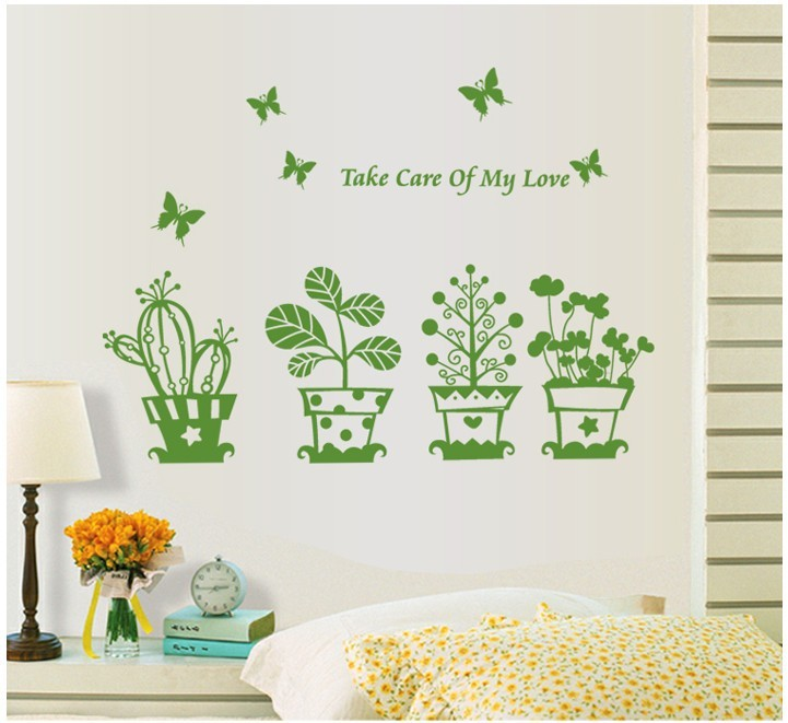 ZY6040 green  Pot Plant Flower  Nature Lovely Window  Decal Vinyl Wall Sticker PVC Decor Decoration DIY Home Living Room