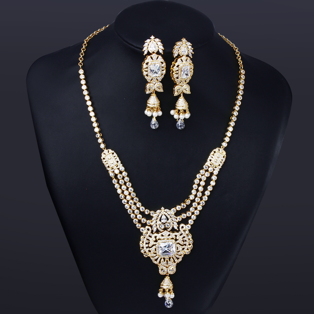 Bridal jewelry sets for wedding luxury sets cz for brides Jewelry wedding bridal Jewelry necklace sets gold plate(China (Mainland))