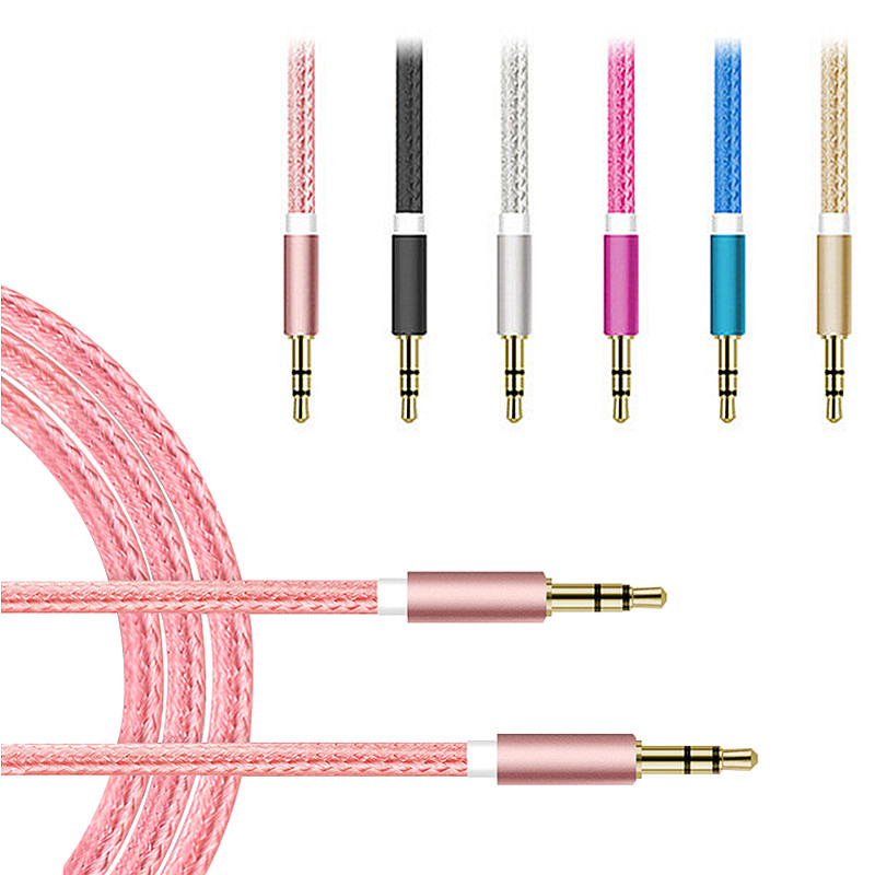 New 3.5mm Jack to Jack AUX Car Audio Cable Male to Male Nylon Wire Speaker Headphone Mobile Phone 3.5 mm Earphone Extension Line(China (Mainland))