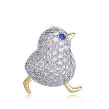 Funmor Di Lusso Pieno di Zircone Tre Uccelli Spilla In Oro di Colore Si Adatta Alle Piccole Vestito Collare Cappello Spilla di Rame Spilli Animale Sciarpa Fibbia regalo(China)