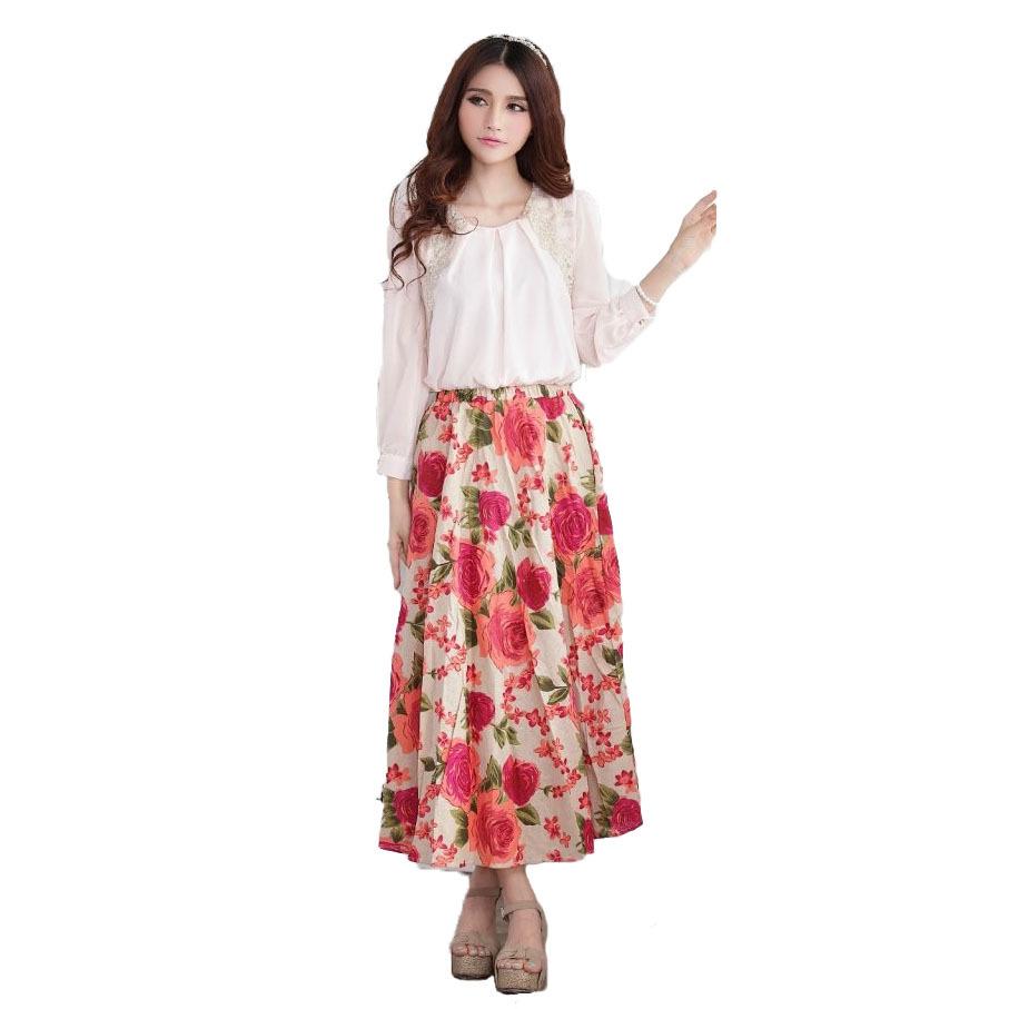 2015 New Fashion Women Vintage Beach Skirts Floral Print Retro Skirt Swing Casual Summer Short ...