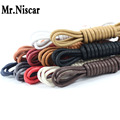 LEO 2 Pair Round Waxed Shoelaces for Leather Shoes Waterproof Cotton Shoe Laces Snow Martin Boots