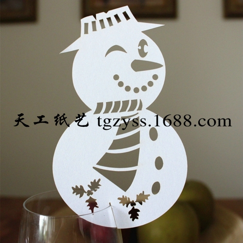 50pcs Laser Cut Snowman Wine Glass Card Escort Cup Card Merry Christmas Tree Party Table Window Decoration(China (Mainland))