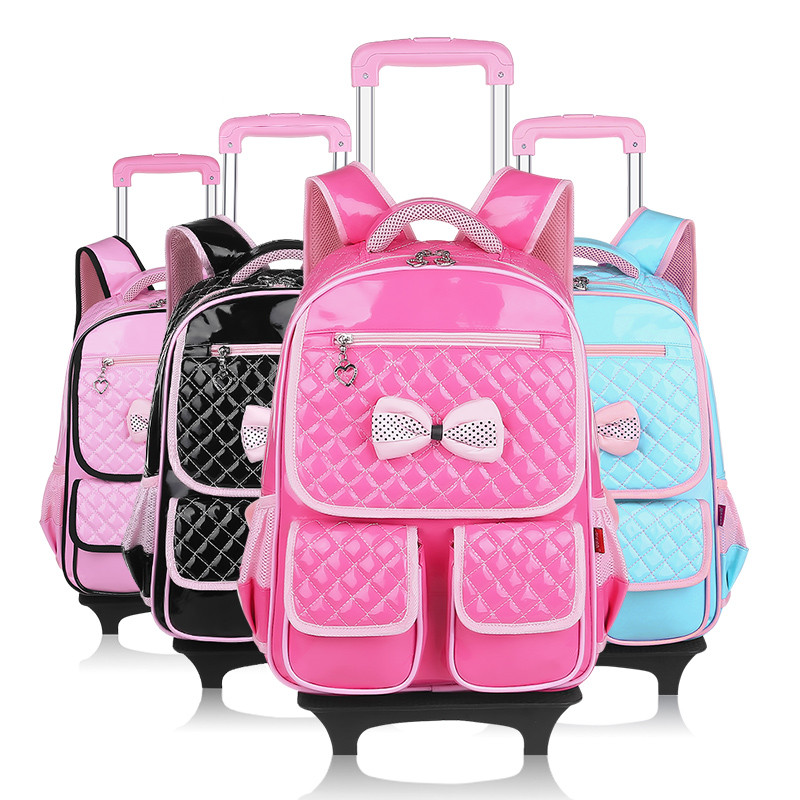 girls school backpack wheels kids travel trolley bag pink wheeled pu leather children bags teenagers backbag - OKKID store