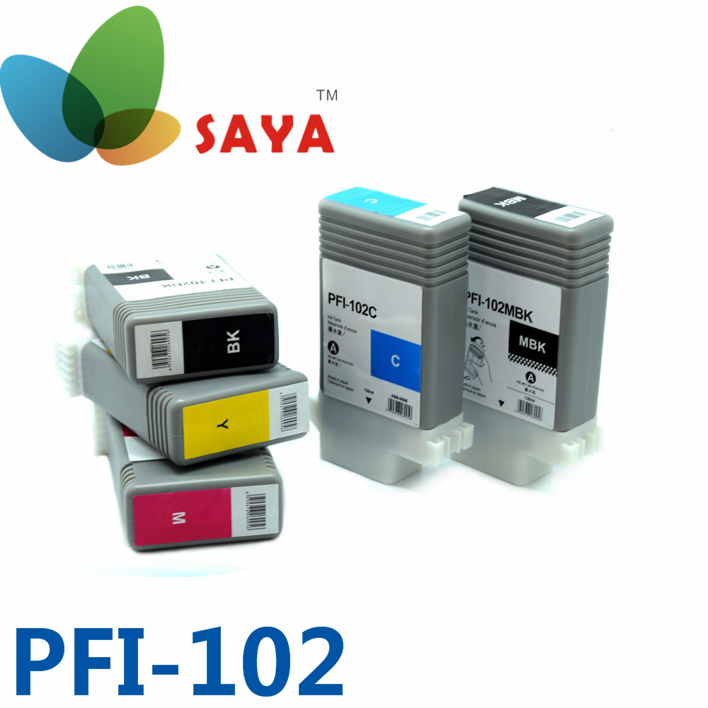 PFI-102 Compatible Pigment INK cartridges for Canon Plotter ipf 500,510,600,605,700,710,720,iPF655,iPF650 iPF755 iPF750 printer(China (Mainland))