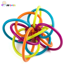High Quality 3-24 months Baby Teether Pacifier Toy PVC Free BPA Free Colorful Baby Ball Rattle Early Educational Toy