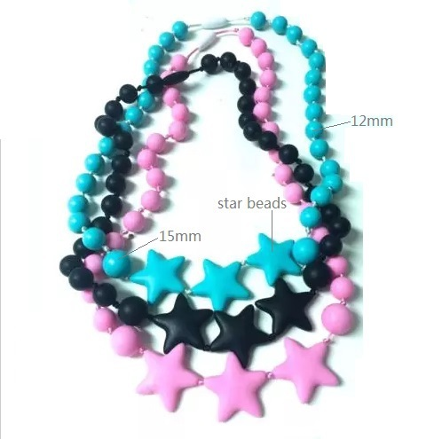 Star Bead Baby Necklaces Knotting Silicone Teeth Necklace Chewable Baby Nursing FDA BPA EN71 Test Free Shipping(China (Mainland))