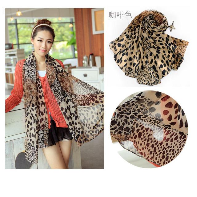 Бесплатная доставка 2016 весной новой корейской женские модели леопарда шифоновый шарф женщин камуфляж шить негабаритных шарфы платки