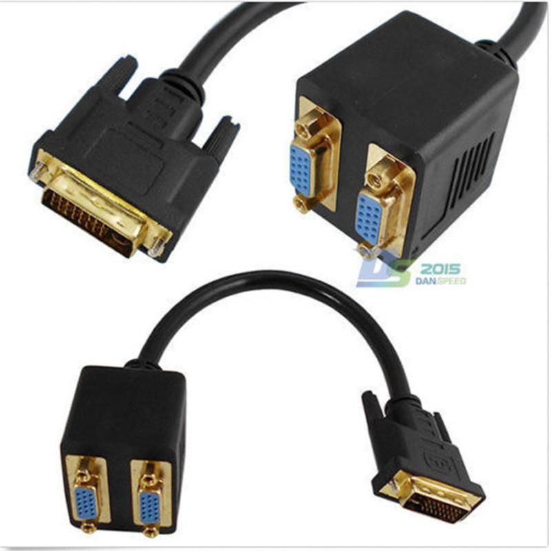 Portable DVI-I 24+5 pin Male to 2x VGA Female Y Splitter Converter HDTV Video Wire Lead(China (Mainland))