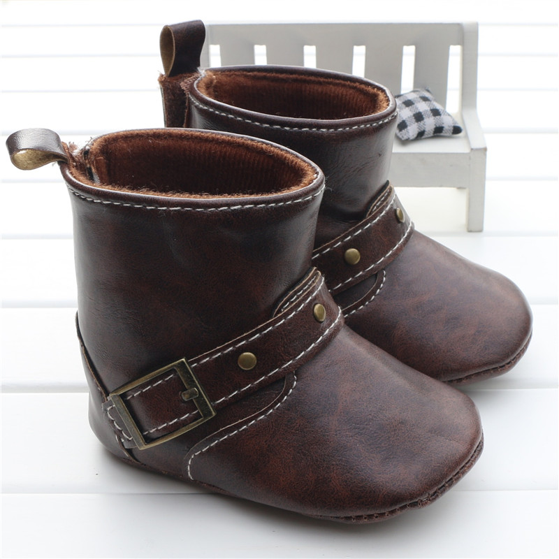 Infant Toddler Western Cowboy Boots Baby Boy Girl Chocolate/Brown PU Booties Boots Shoes Hook&loop On The Back Chaussure Garcon(China (Mainland))