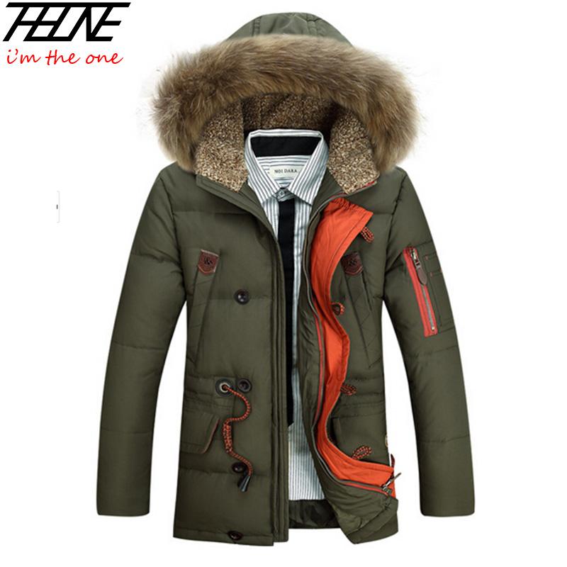 Фотография Fashion 2015 Winter Men Down Jacket Parka 90% White Duck Down Detachable Big Fur Hooded Warm Thick Casual Outwear Long Down Coat