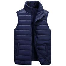 Men's Down Vests 5 Color Winter Jackets Waistcoat Men Fashion Sleeveless Solid Zipper Coat Overcoat Warm Vests Plus Size 4XL 5xl(China)