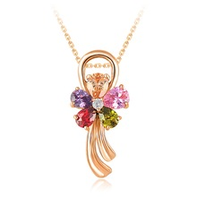 Necklace High Quality Cute Flower Crystal Pendant Necklaces Pendant & Necklaces 18K Gold Plated Wedding Jewelry CNL0030-C