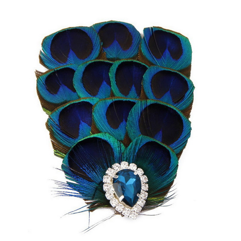 2016 Hot Sale Vintage Elegant Women Wedding Bridal Feather Fascinator Party Hair Clip Peacock Blue(China (Mainland))