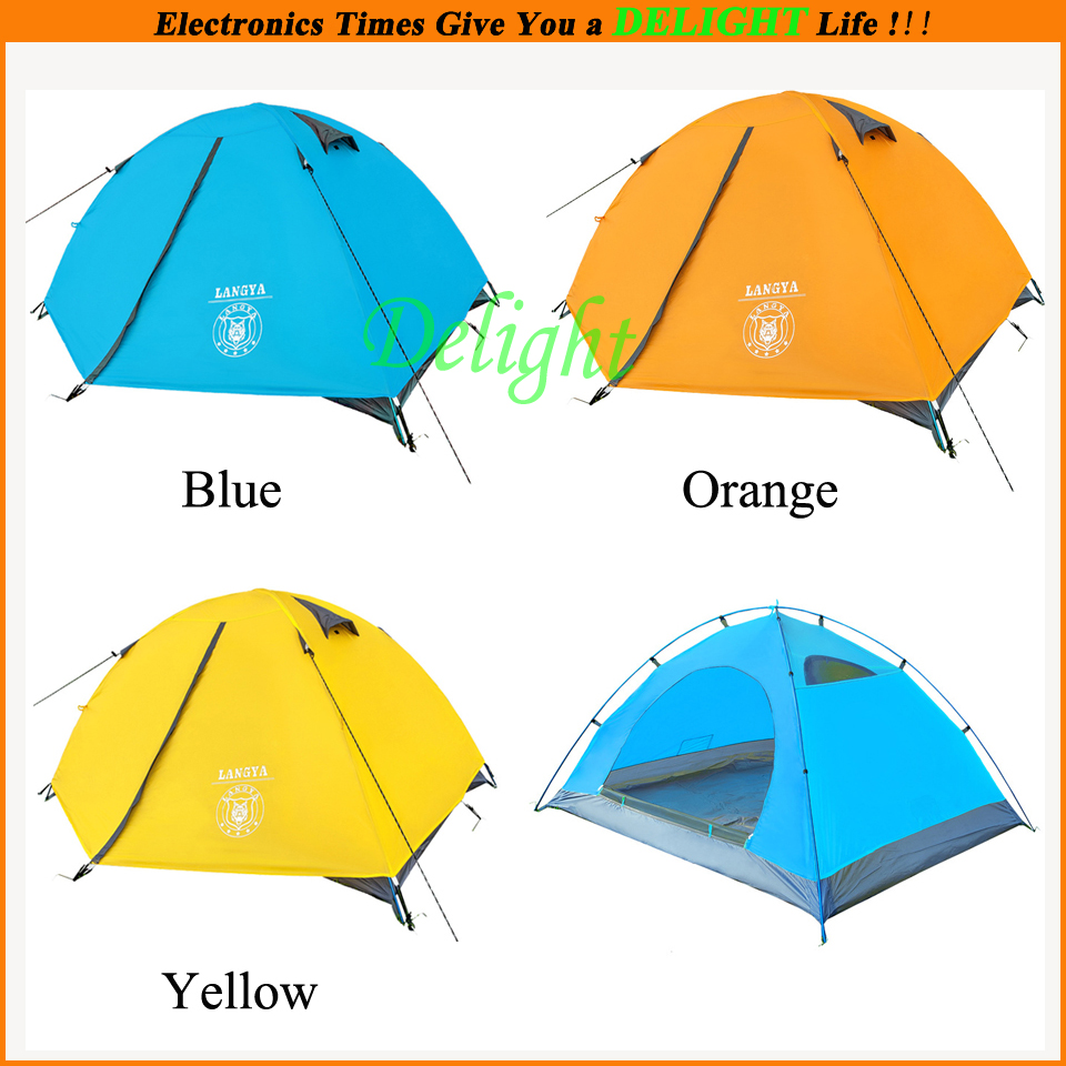 Double Layer Camping Tent 2 People Hiking Trekking Backpacking Fishing Tourist Outdoor Sports - Delight Technology Co., Ltd. store