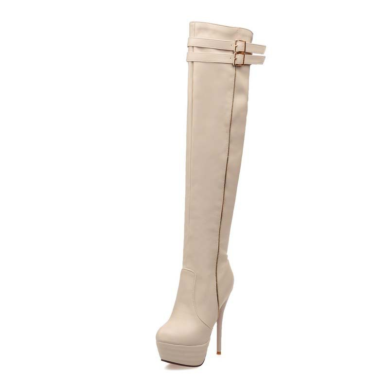 Big Size34-46 Women Boots Shoes Thin Heels High Fashion Over-the-Knee Boots Platform Winter Long Boots For Women Sexy <br><br>Aliexpress