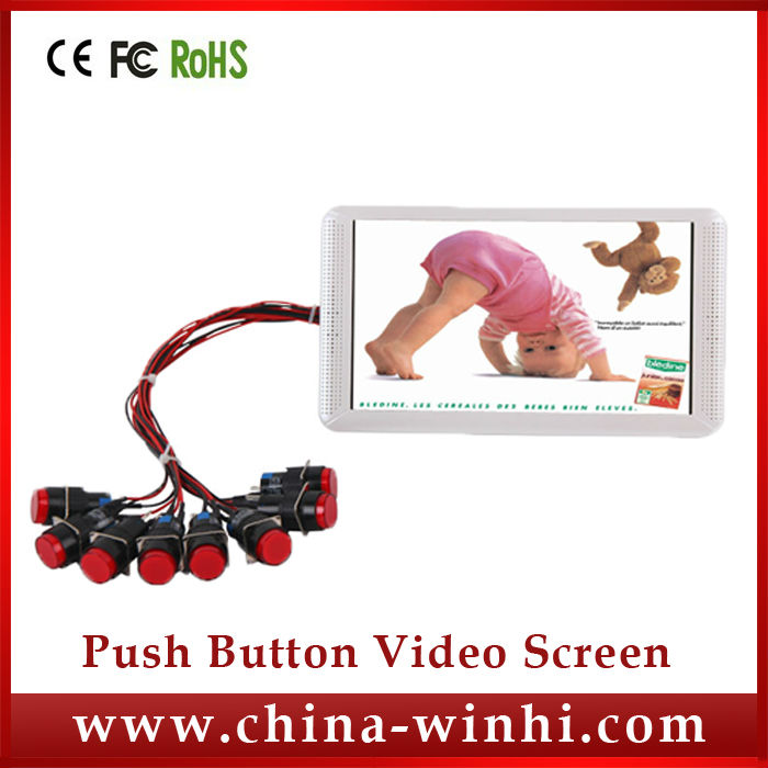 7inch 1080P one key copy plastic shell auto loop play 8 push button control USB SD video player download(China (Mainland))