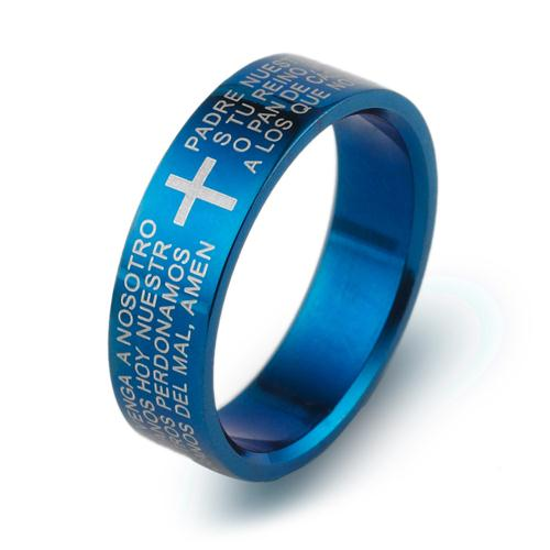 Classic English Biblical Cross Ring 316L Titanium Steel Jewelry Cool father Fr. Finger Rings blue women Men's Three Colors(China (Mainland))