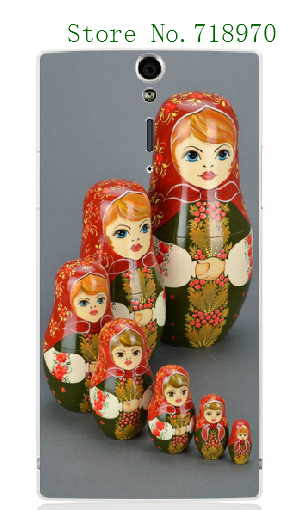 10designs new mobile phone bags retail mix Russian Doll white hard cases for Sony Xperia S LT26i SL LT26ii free shipping(China (Mainland))