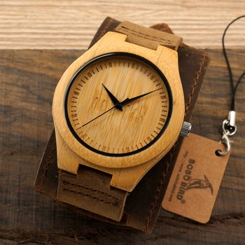 Bobobird Men Watch Natural Bamboo Japanese Quartz Wooden Dial Wide Genuine Leather Band Wrist Watch Brown With Gift Box