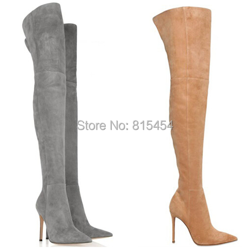 New 2014 Designer High Heels Women Boots Over The Knee Thigh High Boots Suede Winter Boots(China (Mainland))
