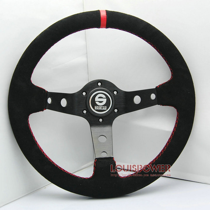 Nieuwe 320mm racing sport s- parco suède stuurwiel universele met hoorn 13012 auto stuurwiel(China (Mainland))