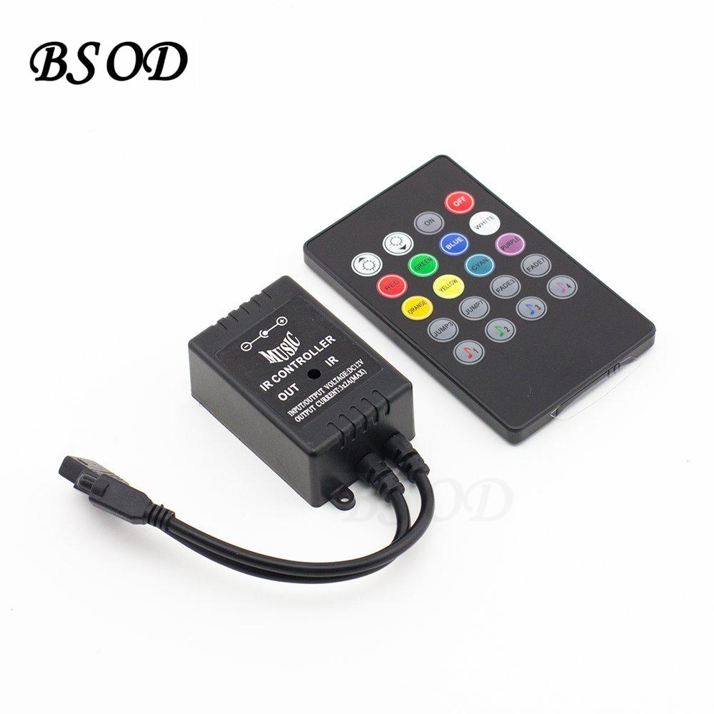 BSOD 20Keys IR Music Controller Audio Sound Sensitive DC12v 6A Black Infrared Dimmer(China (Mainland))