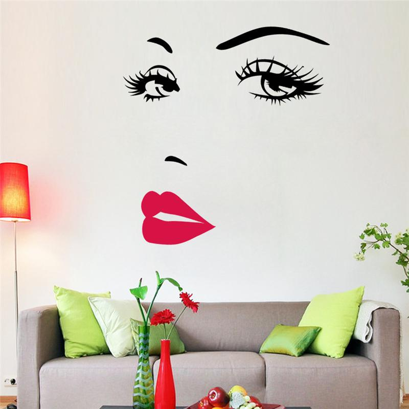 8469 &% Hot home decoration sexy girl lips eye wall stickers bedroom wall 3D stickers DIY Shanghai Daily Art timely Mual home(China (Mainland))