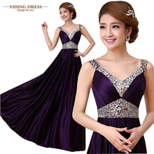 2017 Double-Shoulder V-Neck Silk Beading Purple Longo Evening Dresses Slim Robe De Soiree Formal Vestidos De Fiesta(China (Mainland))