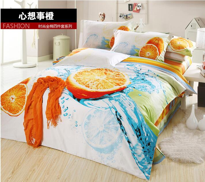 Fresh Orange fruit Modern 3D 100% cotton 4pcs home hotel bedclothes bedlinen bed sheet set 3d duvet/comforter cover suit/B3299(China (Mainland))