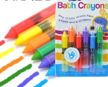 Easy clean Colorful Bath Crayons baby safety food wax children Brush Toy (6 PCS/SET )(China (Mainland))