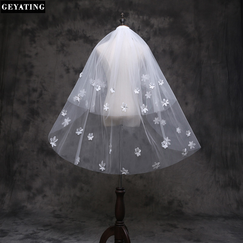 New Arrival Diamond Flowers Veil Short Design 2-layers Wedding Veil Bridal white wedding veil Ivory Wedding Veil with Comb v6018(China (Mainland))