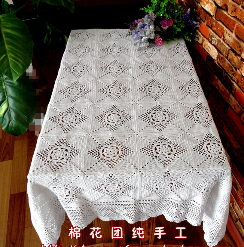Christmas essential Hand Crochet Tablecloths Cotton Table cloth Sofa towel Home Paino Cover cloth Coffee Doilies(China (Mainland))