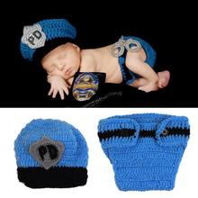 Popular Crochet Newborn Baby Police Outfit Hat Knitted Photo Props Infant Costume(China (Mainland))