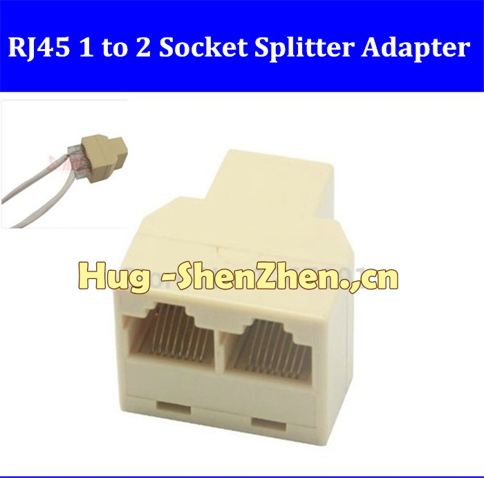 Free shippng 200pcs RJ45 CAT5 6 Ethernet cable LAN Port 1 to 2 Socket Splitter Connector Adapter PC(China (Mainland))