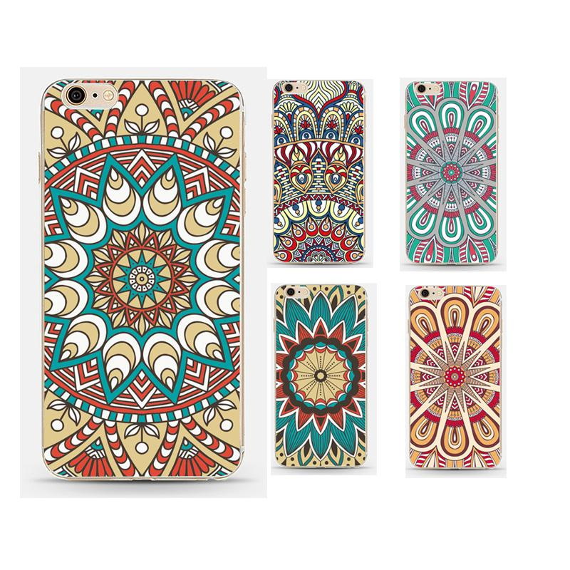 Vintage Coloful Mandala Flower Back Case Coque For Apple Iphone 6 6s Luxury Soft Silicone Tpu Phone Cover(China (Mainland))