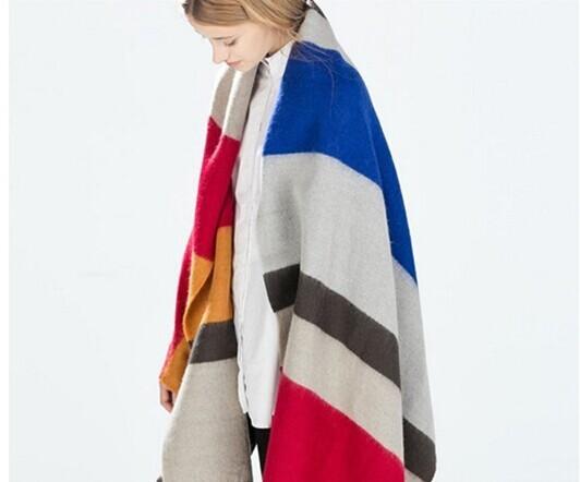 Wj39 новое поступление марка 2016 агломерат сарм шарф смешаны-цвета полосой шарфы мягкий комфорт одеяло пончо шарф бесплатная доставка