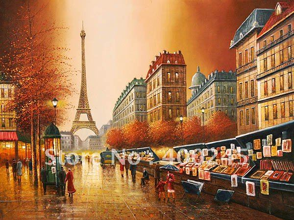 Landscape oil painting,modern painting,Open Air Art Market,Musuem Quality!100% hand printed ,free shipping(China (Mainland))