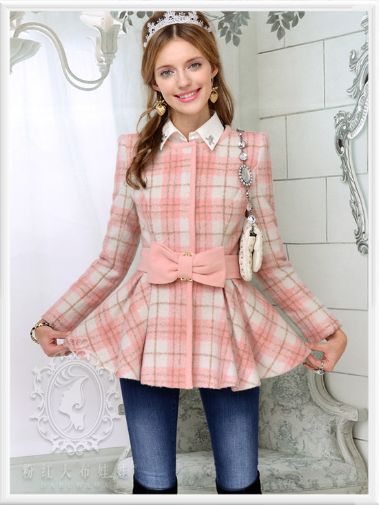 dabuwawa 2016 Brand Autumn and Winter Pink Plaid Bow Slim Casual Elegant Wool Long Women Casacos De Inverno Femininos 2014