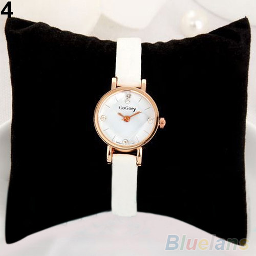 Women Rhinestone Rose Gold Alloy Case Ultra-thin Faux Leather Band Wrist Watch 2CGN(China (Mainland))