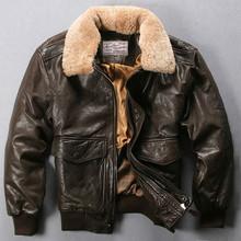 Avirex-fly air force flight jacket fur collar genuine leather jacket men winter dark brown sheepskin coat pilot bomber jacket (China (Mainland))