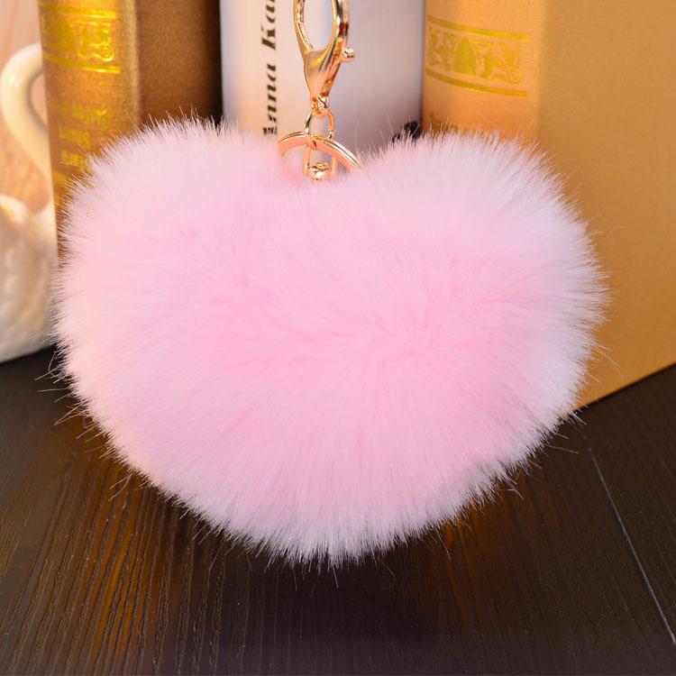 14 colors 12CM similar Faux heart Rabbit fur key chains heart big size fluffy plush keychain car keyring Bag Pendant(China (Mainland))