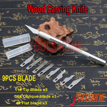 Free shipping!!9 pcs Blades + Pen Cutter Wood Carving Tools Engraving Craft Sculpture Knife Scalpel Cutting Tool PCB Repair