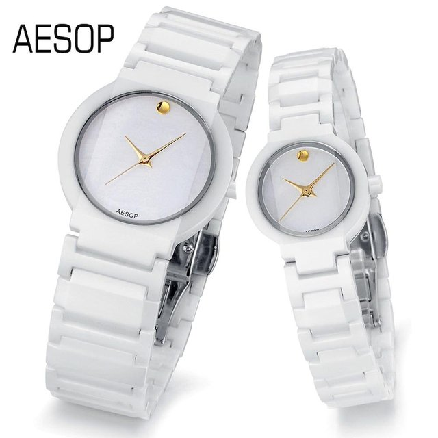 AESOP Ceramics Watch for Lover Quartz gold analog dial without degree scale Couples Luxury wristwatches 9917