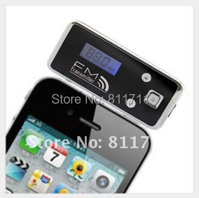 Free shipping Audio FM Transmitter For IPhone 4/4s/5/ IPod/ MP3 /all 3.5mm audio socket Speaker phone function with retail box(China (Mainland))