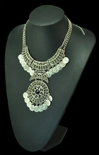 Euroean style double chain coin tassels necklace bohemian carving flower handmade turkey jewelry