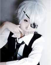 """[sunshine]Tokyo Ghoul Ken Kaneki short white 30cm 12""""cosplay wig anime hair man fashion Heat resistance fibre free shipping +Cap(China (Mainland))"""