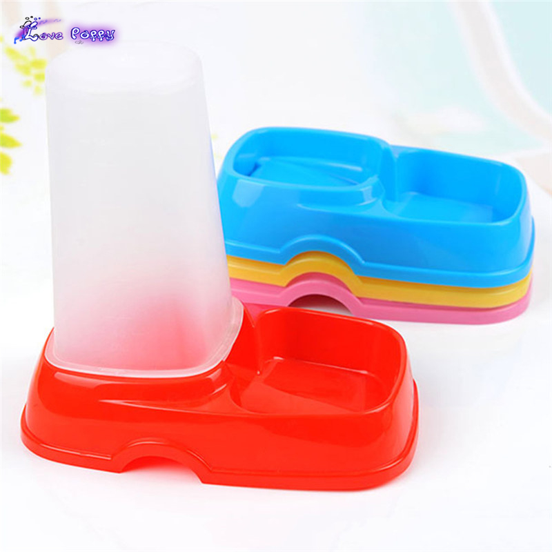 Creative Practical Plastic Pet Feeder Dish Dog Cat Automatic Food Bowl Combination Random Color 0003(China (Mainland))