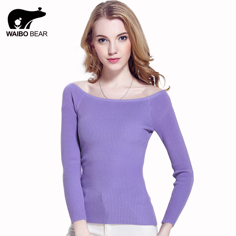 WAIBO BEAR New 2016 Cashmere Sweater Women Spring Cashmere Pullovers Long Sleeve Slash Neck Slim Knitwear spring Knitted Jumper(China (Mainland))