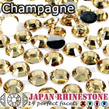 Champagne Nail Crystals Rhinestones SS6 SS8 SS12 SS16 SS20 SS30 Resin Non Hotfix Flat Back stones glitters for Glue on Nails Art(China (Mainland))